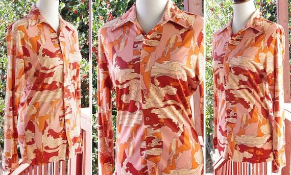 1970 de paysage paysage paysage PSYCHÉDÉLIQUE de Arnel Button Down Shirt Vintage hommes w / col pointu + manches longues / / taille Medium b07e57