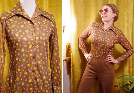 Yellow ROSES 1960's 70's Vintage Brown Floral Unit