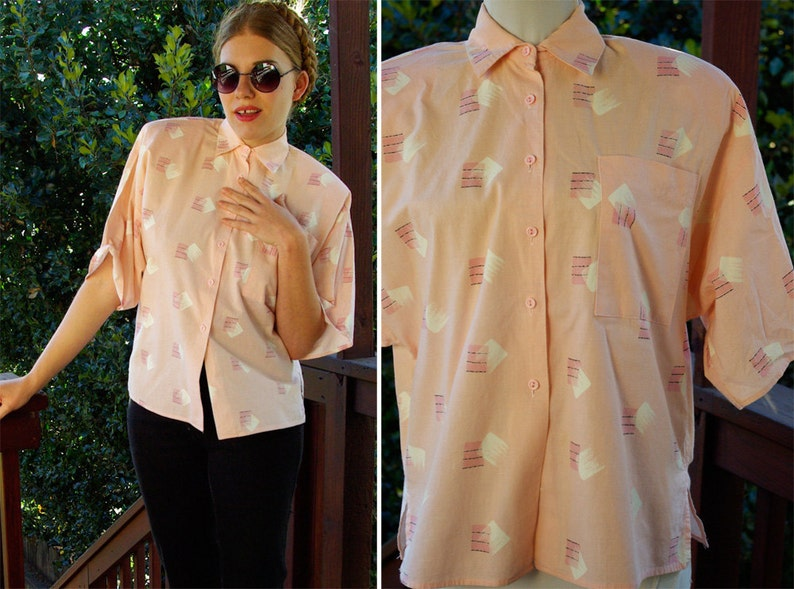 New WAVE 1980/'s Vintage Peachy Pink Button Down Shirt with Geometric Designs  by SOHO  size Small Medium