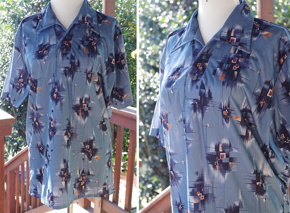 1970s Men's Shirt Styles – Vintage 70s Shirts for Guys Abstract 1970s Vintage Mens Blue  Navy Button Down Poly Shirt with Pointed Collar  By Stuart Mann Of California Size Large $29.99 AT vintagedancer.com