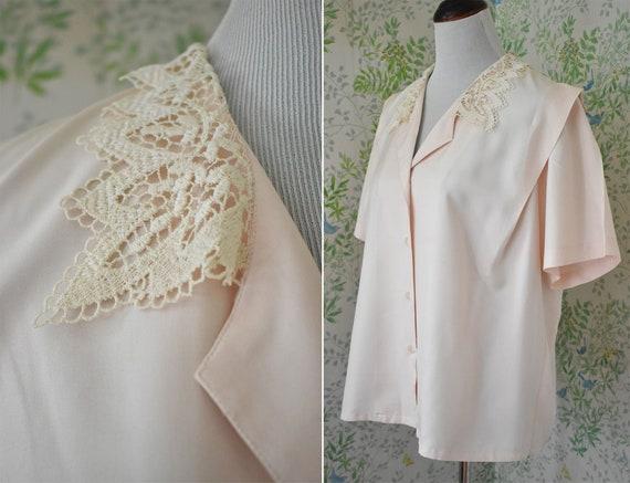 BLUSH 1980's Vintage Pale Pink SILK Blouse w/ Crea