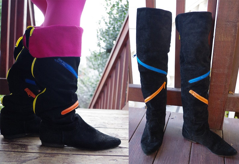 Lots of Zippers  size 7.5 M NEON Zippers 1980/'s 90/'s Vintage Black Hot Pink Tall Leather Boots w Optional Cuffs