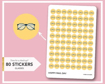 Glasses icon stickers planner - eye check-up stickers - 80 stickers