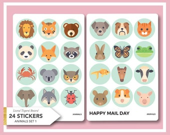 Animals - a collection of 24 animal stickers