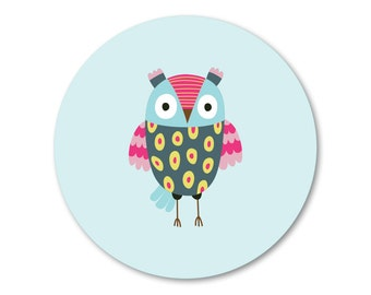 Owl stickers - 12 x cute owl stickers, back-to-school stickers, labels, bookplate
