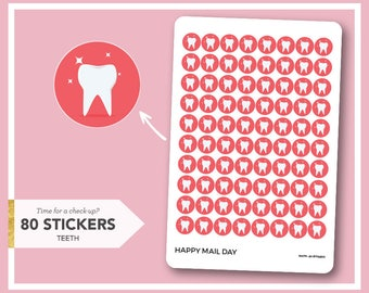 Tooth icon stickers planner - tooth dentist stickers - 80 stickers