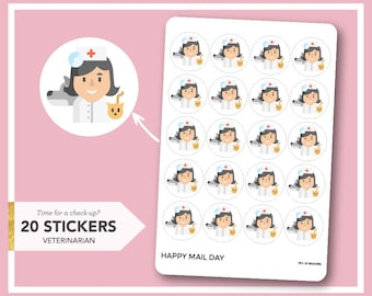 Vet icon stickers planner - veterinarian check-up stickers - 20 stickers