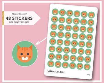 Cat stickers for planner, diaries and calendars - 48 stickers