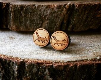 Fox Earrings. Foxy Earrings. Wood Earrings. Stocking Stuffer. Laser Cut Earrings. Bamboo Earrings. Gifts For Her. Gift For Women. Fox. PNW