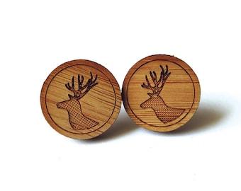 Medium Deer Stag Earrings. Deer Earrings. Wood Earrings. Stud Earrings. Laser Cut Earrings. Bamboo Earrings. Gifts For Her. Gift For Women.