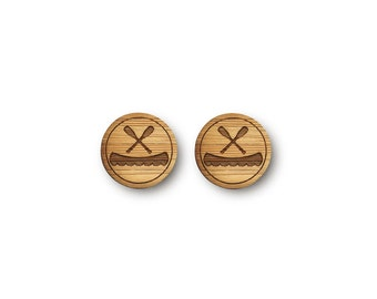 Canoe and Paddles Earrings. Canoe Earrings. Wood Earrings. Stocking Stuffer. Laser Cut Earrings. Bamboo Earrings. Gifts For Her. Lake