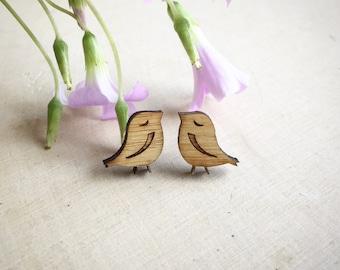 Little Bird Earrings. Wood Earrings. Stocking Stuffer. Boho Earrings. Bamboo Earrings. Gifts For Her. Gift For Women. Cute Earring. Gift