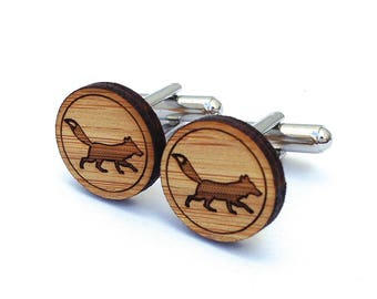 Fantastic Fox Cufflinks. Fox Cufflinks. Woodland. Wood Cufflinks. Groomsmen Gift. Groom Gift. Gift For Men. Mens Gift. Gifts For Dad. Fox.