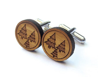 Fresh Forest Cufflinks. Tree Cufflinks. Wood Cufflinks. Groomsmen Gift. Groom Gift. Gift For Men. Mens Gift. Gifts For Dad. Gifts Under 25.
