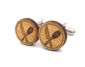 Top Chef Cufflinks. Chef Cufflinks. Wood Cufflinks. Groomsmen Gift. Groom Gift. Gift For Men. Mens Gift. Gifts For Dad. Gifts Under 25. Cook