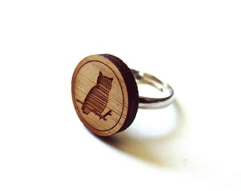 Wise Owl Ring. Owl Ring. Bird Ring. Wood Ring. Gifts Under 25. Gift for Her. Owl Jewelry. Friend Gift. Girlfriend Gift. Mom Gift. Laser Cut.