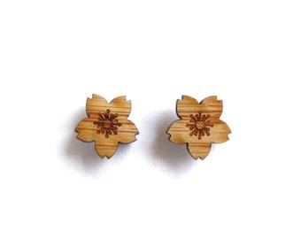 Cherry Blossom Earrings. Flower Earrings. Blossom Earrings. Wood Earrings. Stocking Stuffer. Gifts For Mom. Gifts For Her. Anniversary Gift
