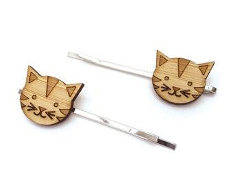 Little Tiger. Cat Hair Pin. Hair Pin. Hair Clip. Hair Accessories. Tabby Cat. Barrettes. Hair Barrettes. Wood Hair Pin. Tiger Hair Pin.