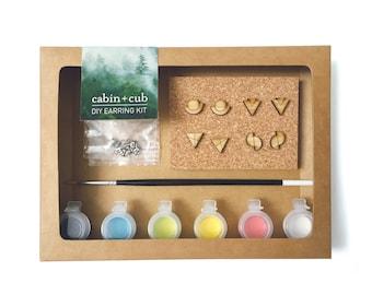 DIY Craft Kit. DIY Earring Kit. Craft Kit. Earring Kit. Geometric Earring. Wood Earring. Kids Gift. Stocking Stuffer. Painted Earring Kit.