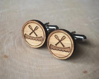 Canoe and Paddles Cufflinks. Canoe Cufflinks. Nautical. Wood Cufflinks. Groomsmen Gift. Groom Gift. Gift For Men. Mens Gift. Gifts For Dad.
