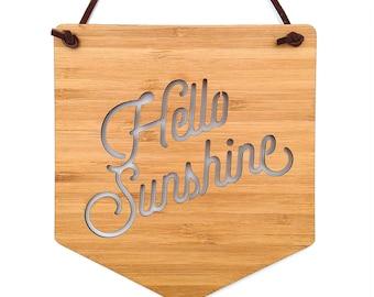 Hello Sunshine Wall Hanging. Wood Pennant. Wood Banner. Laser Cut Banner. Wall Art. Wall Hanging. Motivational Poster. Wall Decor. Art. Sun
