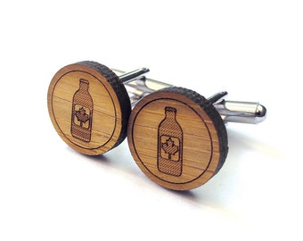 Stubby Bottle Cufflinks. Beer Cufflinks. Wood Cufflinks. Groomsmen Gift. Groom Gift. Gift For Men. Mens Gift. Gifts For Dad. Gifts Under 25.