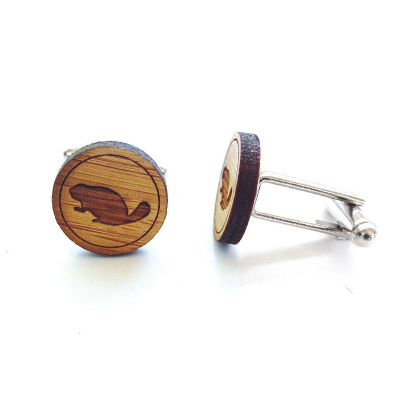 Gift For Men Beaver Cufflinks Groom Gift Busy Beaver Cufflinks Canadian. Groomsmen Gift Wood Cufflinks Gifts For Dad Mens Gift