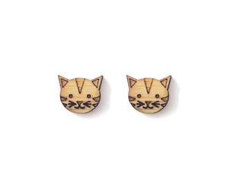 Little Tabby Tiger Cat Earrings. Wood Earrings. Stud Earring. Laser Cut Earrings. Bamboo Earrings. Gifts For Her. Stocking Stuffer. Tiger