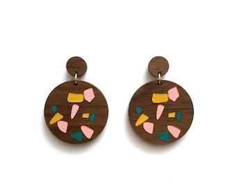 Walnut Terrazzo Earrings. Wood Earrings. Dangle Earrings. Laser Cut Earrings. Statement Earrings. Gifts For Her. Gift For Women. Terrazzo
