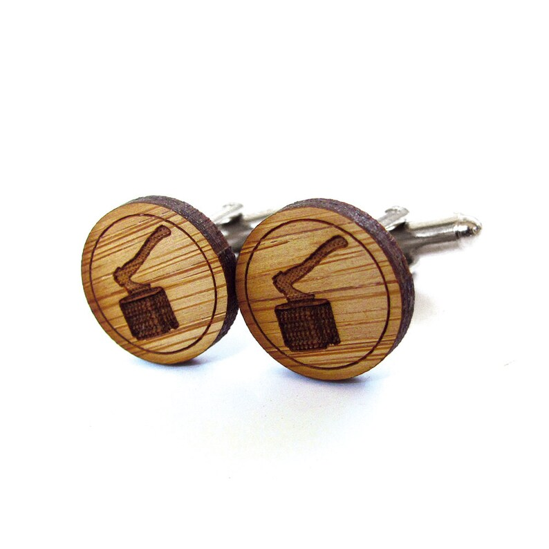 Ax Cufflinks Gift For Men Lumberjack Cufflinks Groomsmen Gift Gifts For Dad. Wood Cufflinks Mens Gift Groom Gift Axe Cufflinks