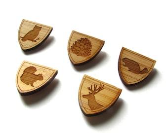 Wood Tie Pin Set. Set of 5. Wood Tie Pin. Wood Lapel Pin. Tie Pin. Lapel Pin. Mens Lapel Pin. Boutonniere. For Him. Groomsmen Gift. Wedding.