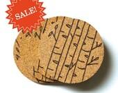 SALE - Winter Birch Cork Coaster Set