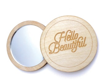 Hello Beautiful Pocket Mirror. Pocket Mirror. Wood Mirror. Mirror. Laser Cut. Compact Mirror. Gifts For Her. Gift For Women. Makeup Mirror