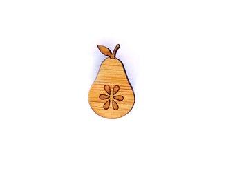 Sweet Pear Pin. Pear Pin. Bamboo Pin. Wood Pin. Bamboo Pin. Laser cut Pin. Gifts under 20. Gifts for her. Lapel Pin. Teacher Gift. Fruit Pin