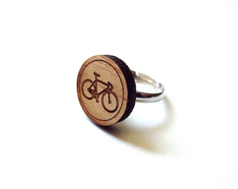 Bicycle Ring. Bike Ring. Wood Ring. Gifts Under 25. Gift for Her. Cyclist Gift. Cycling Ring. Bike Jewelry. Friend Gift. Girlfriend Gift.