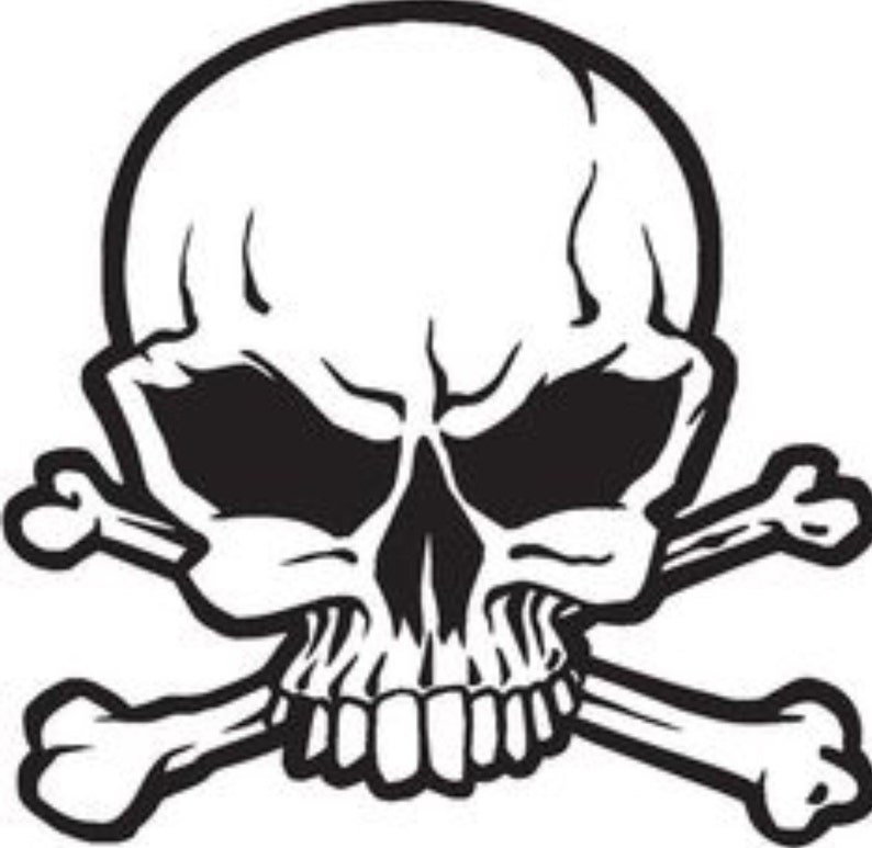 Skull And Crossbones Decal Skull Bones Vinyl Decals Etsy
