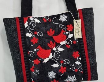 Red Cardinals Shoulder Bag Holly Berry purse tote bag Christmas Holiday  Winter handbag 76a0221ea2bc3