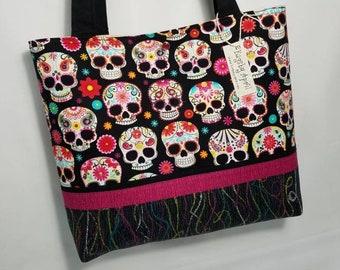 Sugar Skull Day of the Dead Calavera purse tote bag
