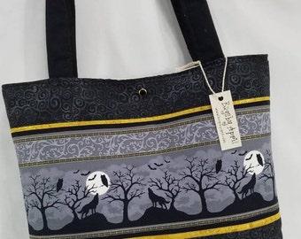 d555e8dd828a Wolf Silhouette handbag Owl tote bag Moon purse Black Bat Halloween Goth  Graveyard tote