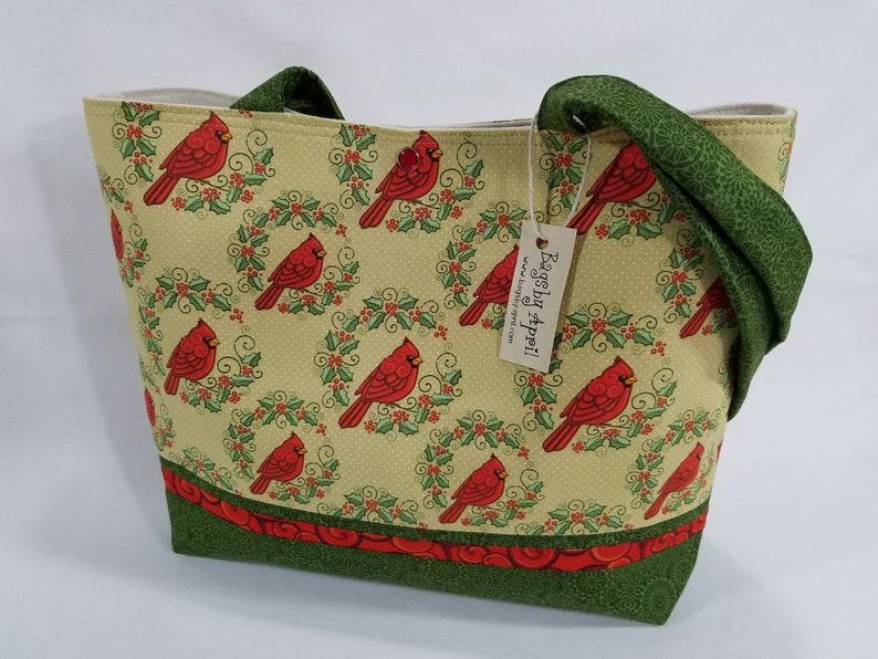 Red Cardinals Shoulder Bag purse tote Wreath handbag Christmas  671f3f0b3c8b5