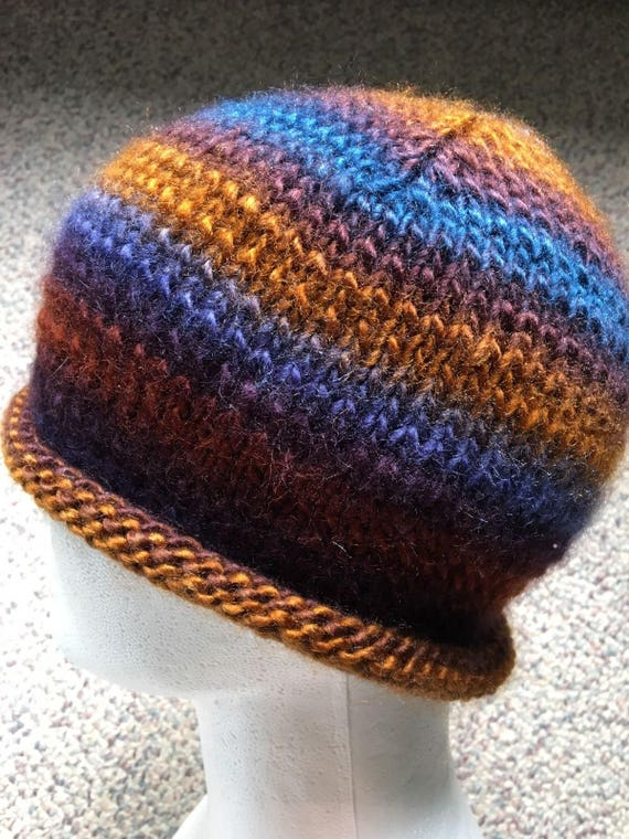 Perfect Autumn Accessory! Hand knit Pumpkin Hat Roll Brim Hat
