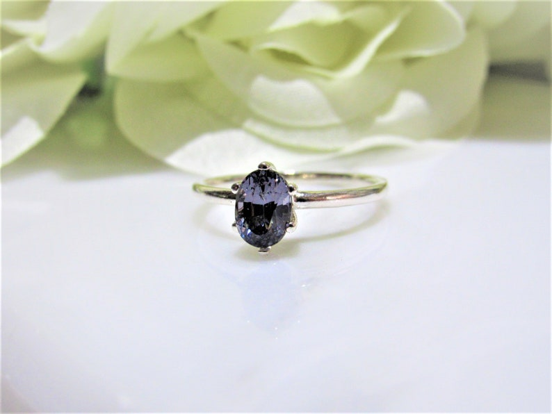 Spinel Gemstones 1.15 ct. 7.2x5mm Natural~Rare Brillance Titanium Smokey Gray Engagement,Promise Oval Solitaire Sterling Silver Ring