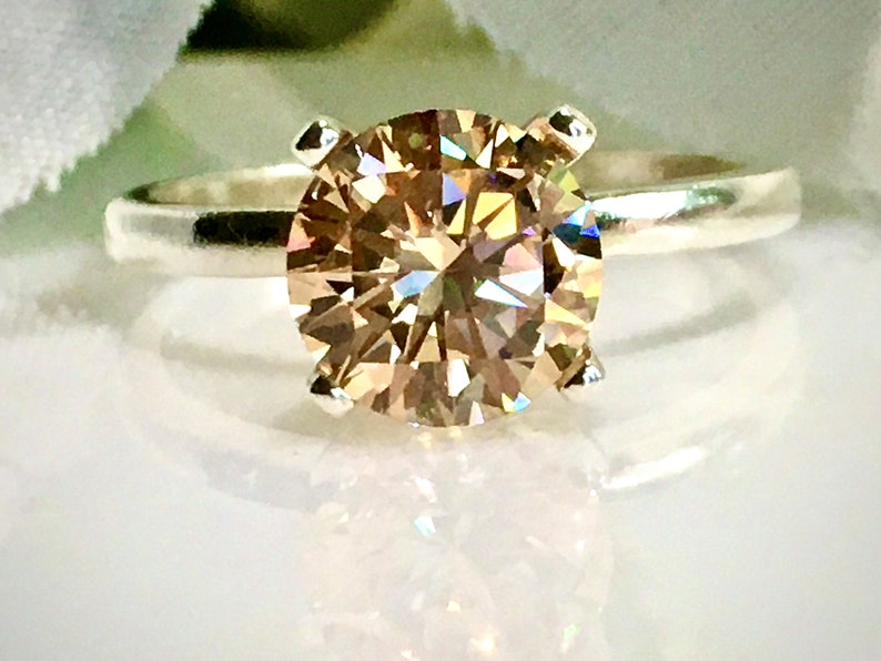 Bridal Jewelry CZ Solitaire Sterling Silver Engagement Ring Promise Ring Brilliant Champagne Cubic Zirconia 2 Carat 8mm Anniversary