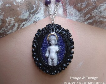 Assemblage Doll Jewelry - Frozen Charlotte - OOAK Drowned Doll Halo Cameo Necklace with Amethyst by Ugly Shyla Gothic victorian horror doll