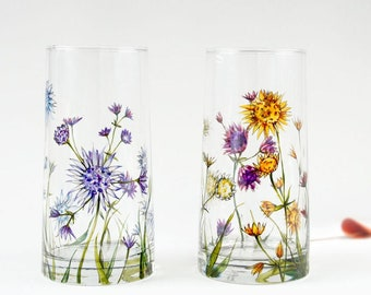 Painted Glass Tumblers, Set of 2  - Astrantia Flowers | Botanical Collection | Made to Order