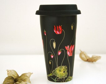 Black Ceramic Travel  Mug - Gold Cyclamen - Botanical Collection