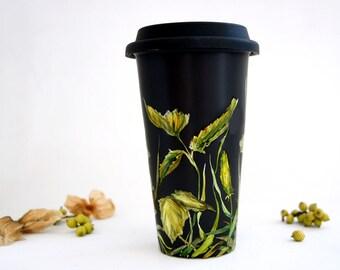 Black Ceramic Travel Mug   Fields of Grass Collection