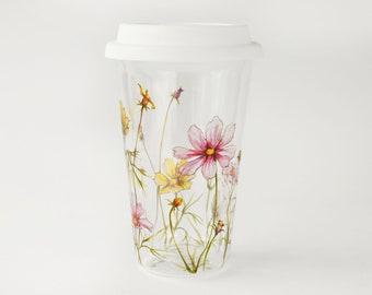 Double wall Glass Travel Mug   Cosmo Flowers - Botanical Collection