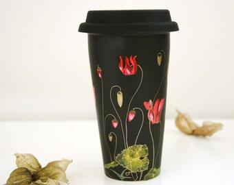 Black Ceramic Eco-Friendly Travel  Mug - Gold Cyclamen - Botanical Collection