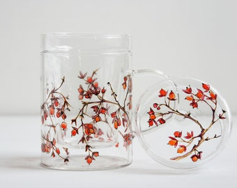 Glass Tea Mug with Lid and Infuser   Winter Berries Collection   Made to Order